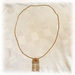 Long Gold Necklace with amber like stone accents